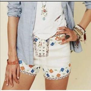 Free People High Waist Linen Blend Shorts Size 0